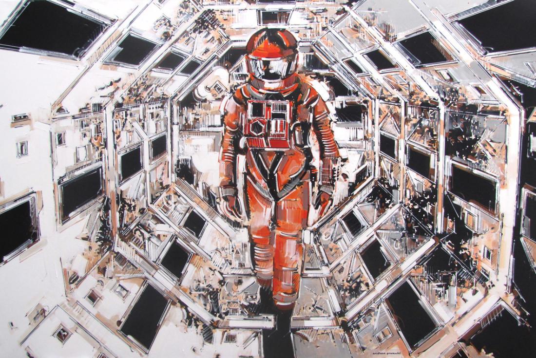 ritratto di Andrea Gnocchi raffigurante una scena del film 2001: Odissea nello spazio, celebre film di Stanley Kubrick