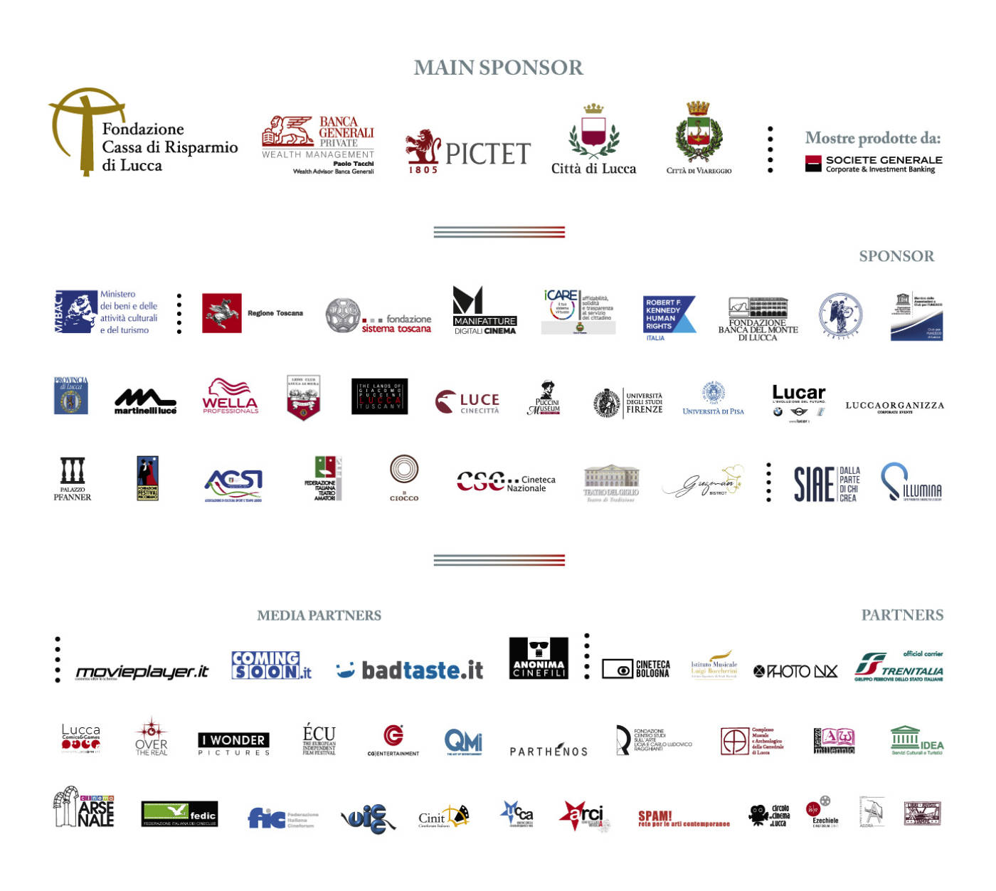 tutti gli sponsor di lucca film festival europa cinema